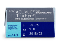 1 Day Acuvue TruEye (30čoček) - Náhled parametrů čoček