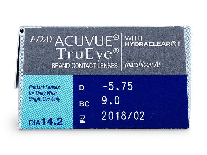 Náhled parametrů čoček - 1 Day Acuvue TruEye (30čoček)