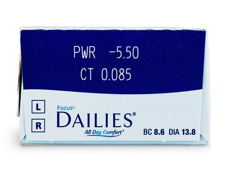 Focus Dailies All Day Comfort (30čoček) - Náhled parametrů čoček