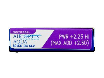 Air Optix Aqua Multifocal (6čoček) - Náhled parametrů čoček