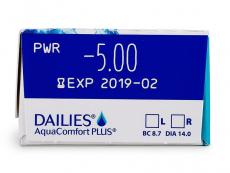 Dailies AquaComfort Plus (30čoček) - Náhled parametrů čoček