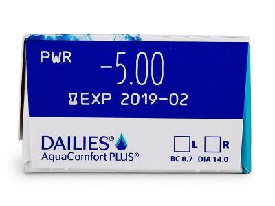 Náhled parametrů čoček - Dailies AquaComfort Plus (30čoček)