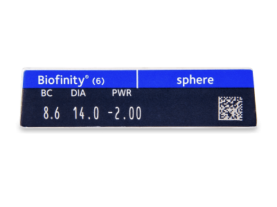 Biofinity (6čoček) - Náhled parametrů čoček